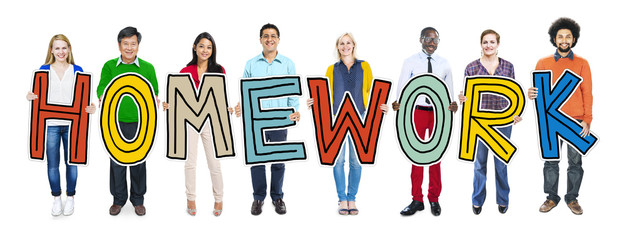 Group Diverse People Holding Homework Word