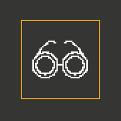 Simple stylish glasses pixel icon. Vector design