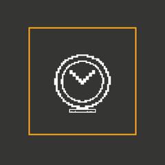 Simple stylish pixel clock icon. Vector design