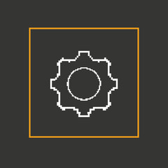 Simple stylish pixel icon gear. Vector design