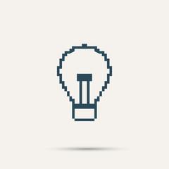 Simple stylish pixel icon bulb. Vector design
