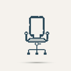 Simple stylish pixel icon chair. Vector design