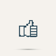 Pixel icon raised a finger. Vector design