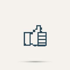 Pixel icon raised a finger. Vector design