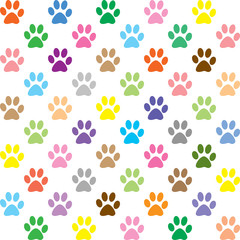Colorful puppy paw prints pattern