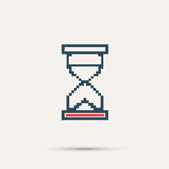 Simple stylish pixel icon hourglass. Vector design