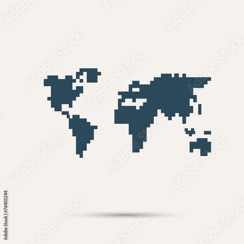 Fototapeta Simple style pixel icon continents. Vector design