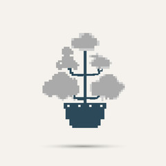 Simple stylish pixel icon flower. Vector design