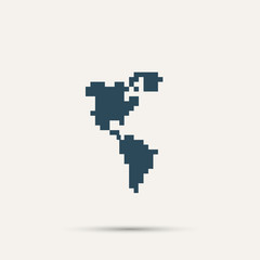 Pixel icon North and South America. Vector design