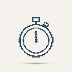 Simple stylish pixel icon stopwatch. Vector design
