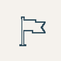 Simple stylish pixel icon flag. Vector design