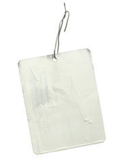 Metal tag label isolated on white background