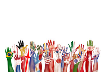 Hands Flag Symbol Diverse Diversity Ethnic Ethnicity Unity