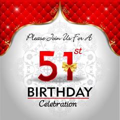 celebrating 51 years birthday, Golden red royal background