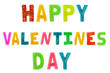 Colourful rainbow Happy valentines day text