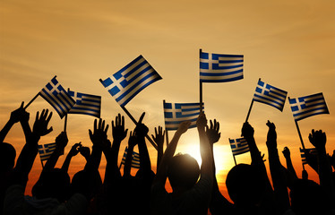 Silhouettes People Holding Flag Greece Community Concept