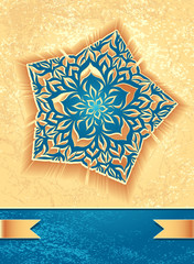 Creative Flyer with abstract flower star in marine beige