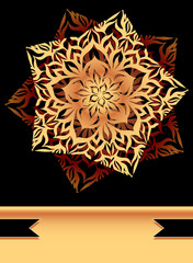 Creative Flyer with abstract flower star in  black Gold