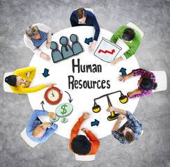 Aerial View People Career Plan Human Resources Concept