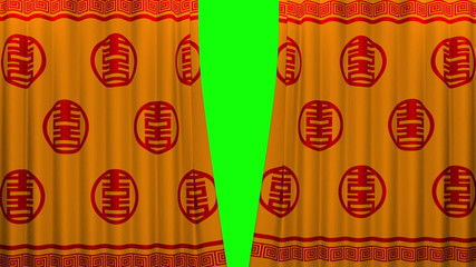 chinese new year red and gold pattern curtain