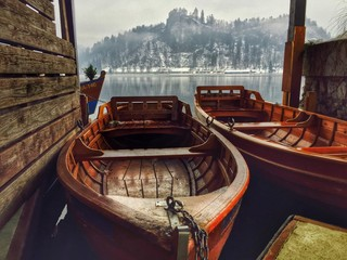 Wooden Boats, Bled Castle, Slovenia