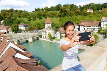 Travel selfie woman in Bern Switzerland