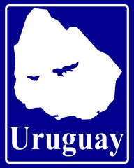 silhouette map of Uruguay