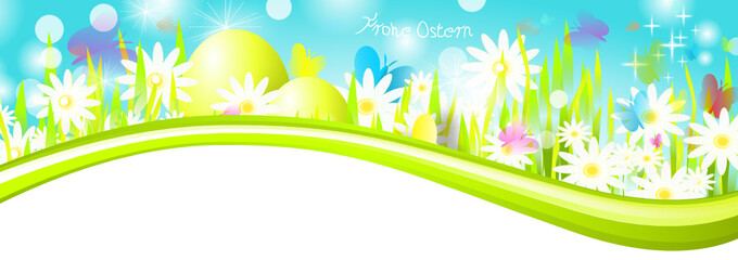 Frohe Ostern Banner Welle