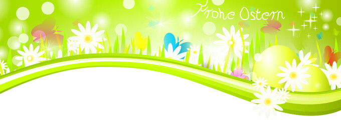 Ostern Wiese Banner Grün