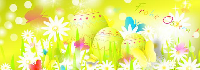 Frohe Ostern Banner Landschaft Nest Ei