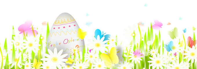 Frohe Ostern Wiese Banner