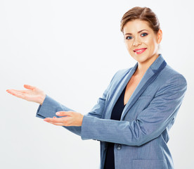 Isolated business woman portrait presenting copy space.