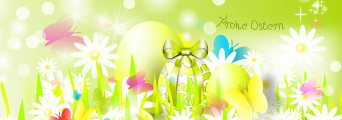 Frohe Ostern Banner grün Wiese