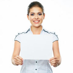 Business woman hold banner