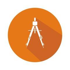 Icono compás naranja botón sombra