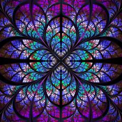 Symmetrical fractal pattern. Collection - tree foliage. Darkblue