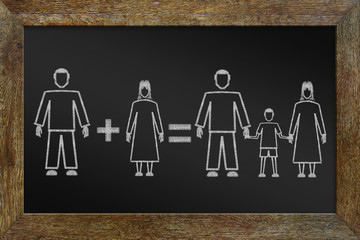Concept of happy traditional family. Chalk drawing