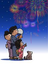 花火と親子