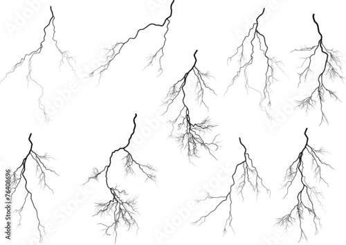 group of nine black lightnings on white - 76408696
