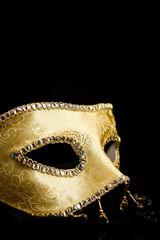 Closeup view of golden mask