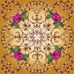 four pink roses in brown square design