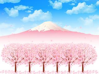 桜 富士山 背景