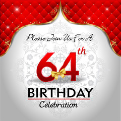 celebrating 64 years birthday, Golden red royal background