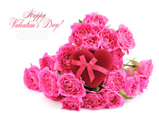 Heart-shaped Gift Box with pink roses on white background