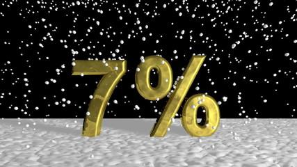 Gold 7 percent symbol in falling snow