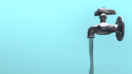 Side View Of Faucet And Water, Blue Background