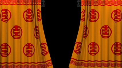 chinese new year red and gold pattern curtain with green screen