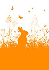 Osterkarte, Osterhase, Häschen, stehend, Gras, Wiese, Easter, 2D
