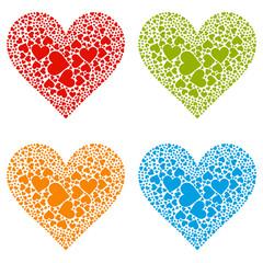Herz, Herzform, Heart, rot, blau, grün, gelb, Set, Vektor, Form