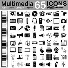 Multimedia, Icon, Iconset, Set, Medien, Symbol, Vektor, Vector